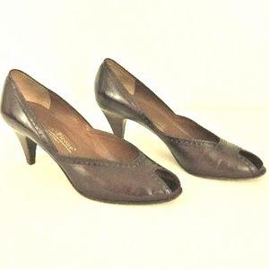 Evan-Picone Size 8 N Brown Peep Toe Pump Heels